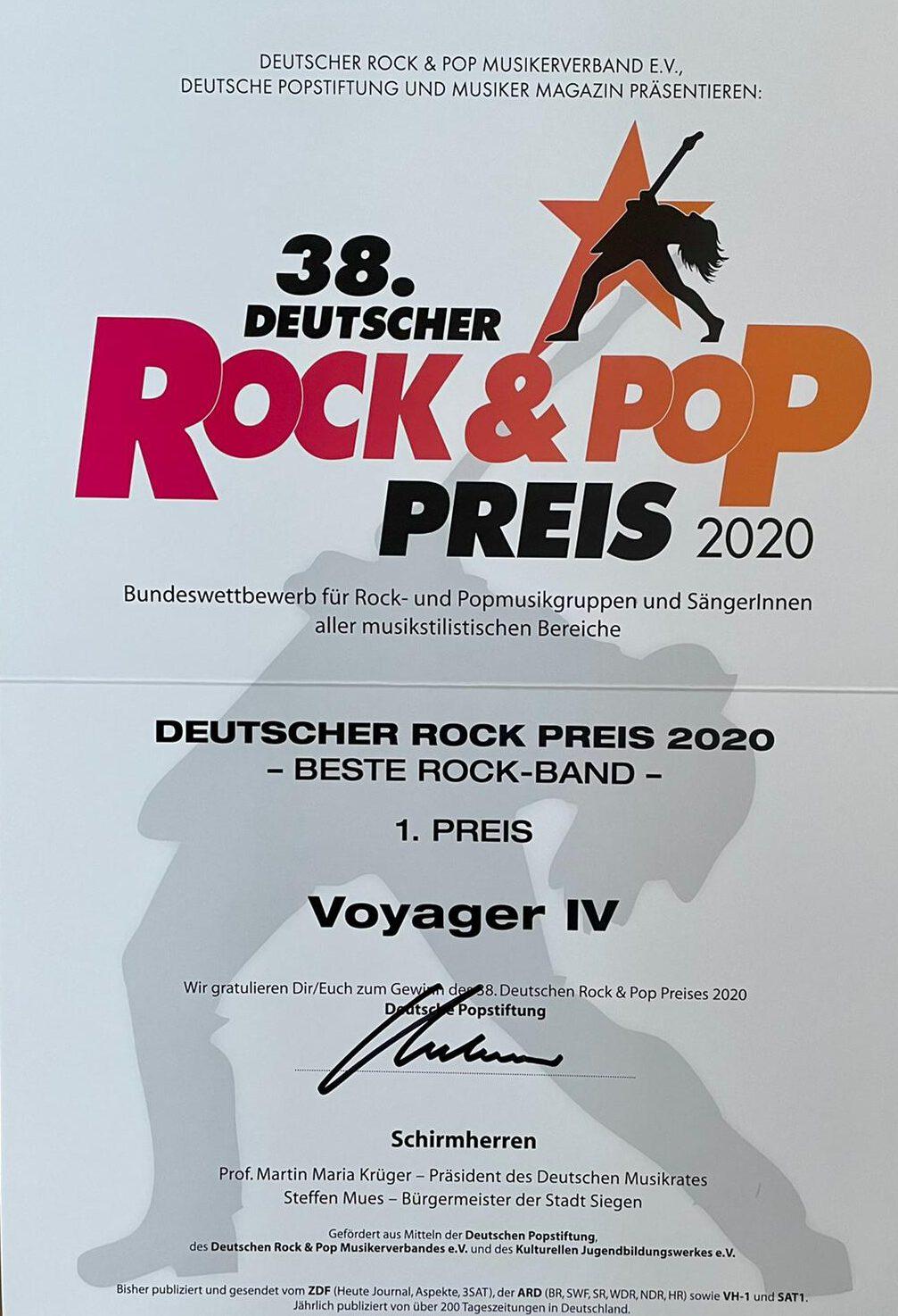 Urkunde deutscher Rock und Pop Preis, Beste Rockband 1. Preis